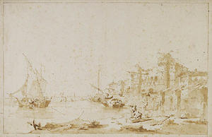 Francesco Lazzaro Guardi - An Imaginary View of a Venetian Lagoon, with a Fortress by the Shore