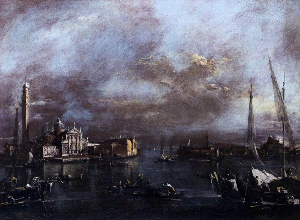 Bacino di San Marco with San Giorgio and the Giudecca, Oil by Francesco Lazzaro Guardi (1712-1793, Italy)