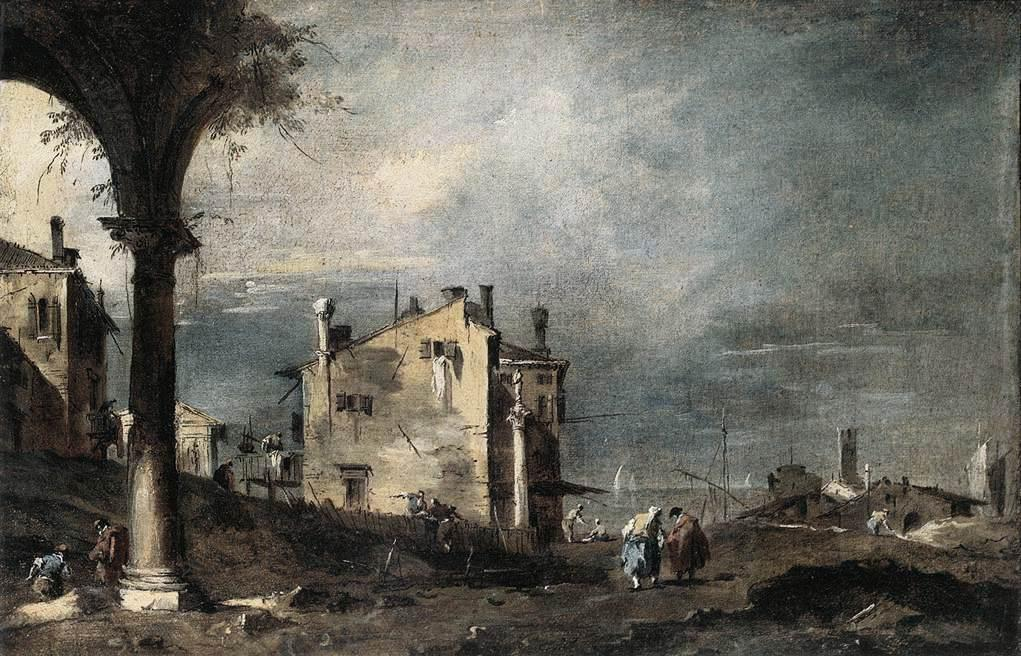 Capriccio with Venetian Motifs, Oil by Francesco Lazzaro Guardi (1712-1793, Italy)