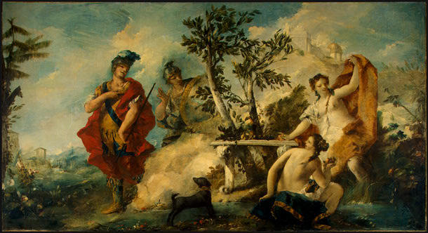 Carlo and Ubaldo Resisting the Enchantments of Armida`s Nymphs by Francesco Lazzaro Guardi (1712-1793, Italy) | Museum Quality Reproductions | WahooArt.com
