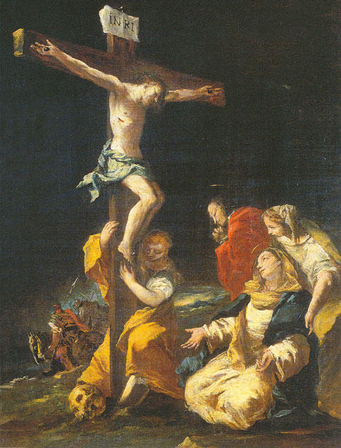 Crucifixion, Oil by Francesco Lazzaro Guardi (1712-1793, Italy)