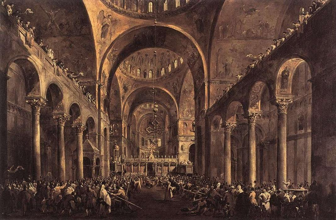 Doge Alvise IV Mocenigo Appears to the People in St Mark`s Basilica in 1763 by Francesco Lazzaro Guardi (1712-1793, Italy) | Art Reproduction | WahooArt.com
