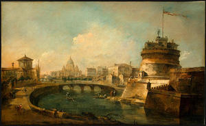 Francesco Lazzaro Guardi - Fanciful View of the Castel Sant'Angelo, Rome