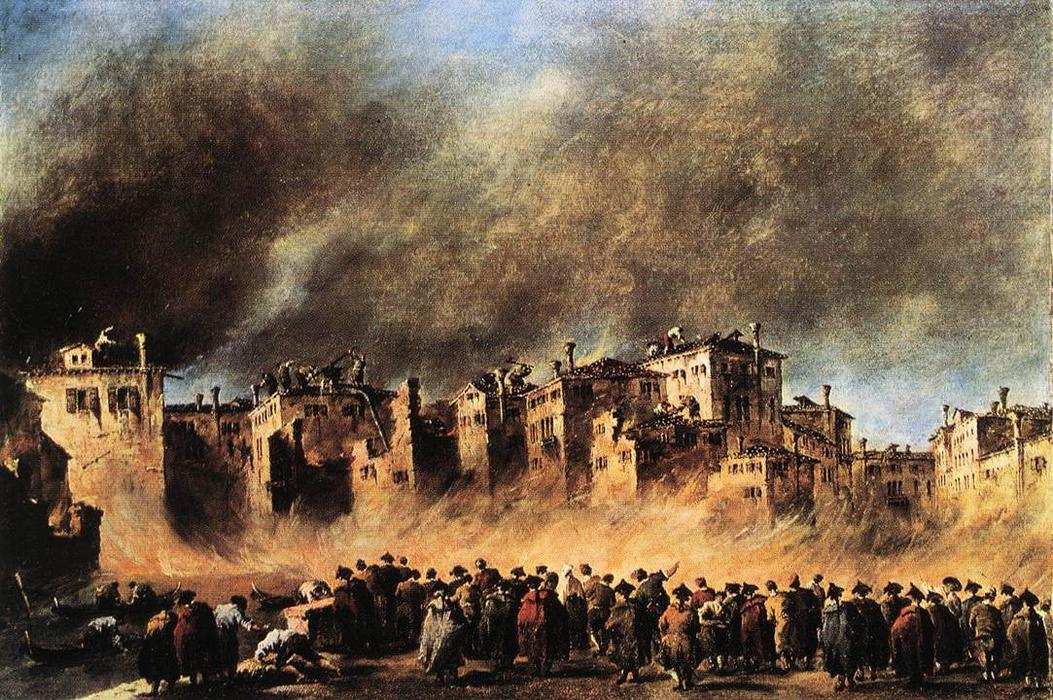 Fire in the Oil Depot at San Marcuola, Oil by Francesco Lazzaro Guardi (1712-1793, Italy)