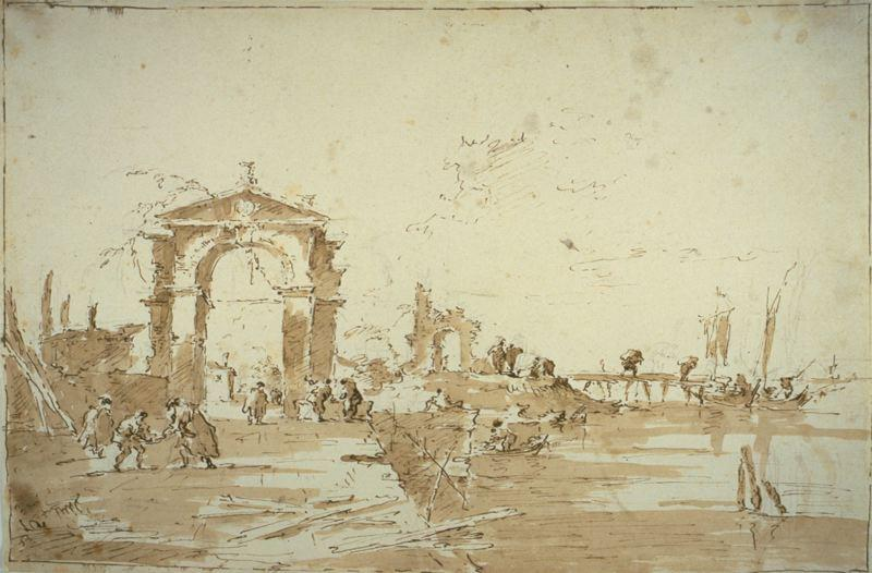 Gateway Near a Landing Bridge, Drawing by Francesco Lazzaro Guardi (1712-1793, Italy)