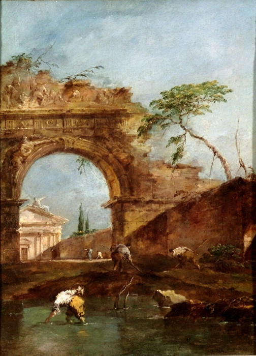 Landscape - capriccio, Oil by Francesco Lazzaro Guardi (1712-1793, Italy)