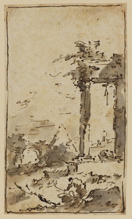Landscape capriccio, Drawing by Francesco Lazzaro Guardi (1712-1793, Italy)