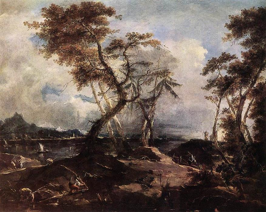 Landscape, Oil by Francesco Lazzaro Guardi (1712-1793, Italy)