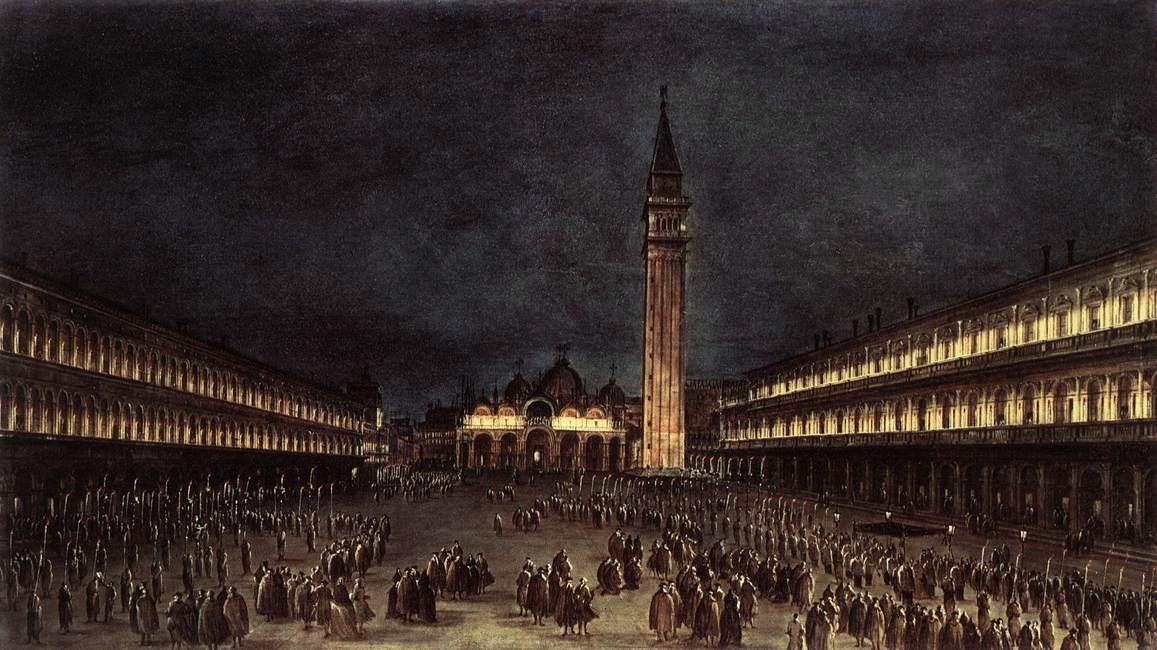 Nighttime Procession in Piazza San Marco, Oil by Francesco Lazzaro Guardi (1712-1793, Italy)