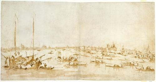 Panaromic View of the Bacino di San Marco, Looking up the Giudecca Canal, Drawing by Francesco Lazzaro Guardi (1712-1793, Italy)