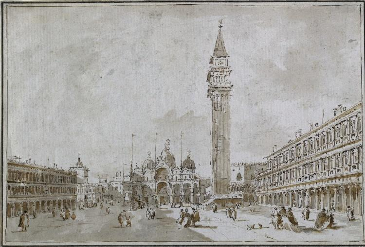 Piazza San Marco, Venice, Watercolour by Francesco Lazzaro Guardi (1712-1793, Italy)