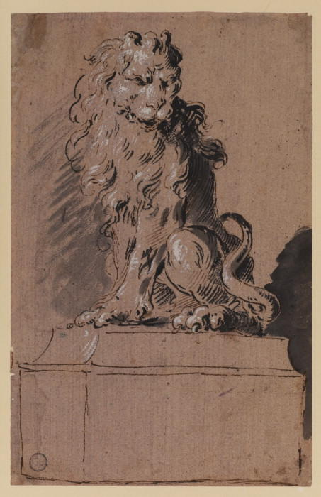 Seated lion by Francesco Lazzaro Guardi (1712-1793, Italy) | Famous Paintings Reproductions | WahooArt.com