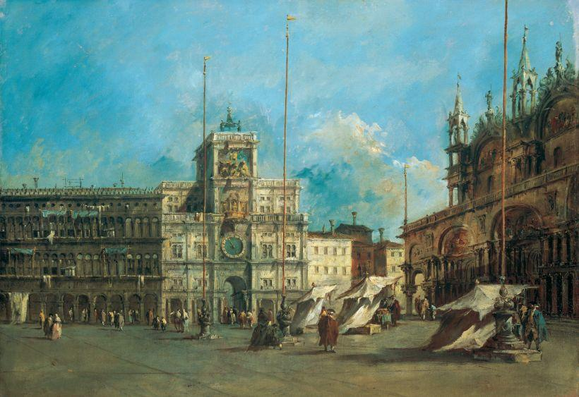 St. Mark's Square in Venice with the Clocktower by Francesco Lazzaro Guardi (1712-1793, Italy) | Art Reproduction | WahooArt.com