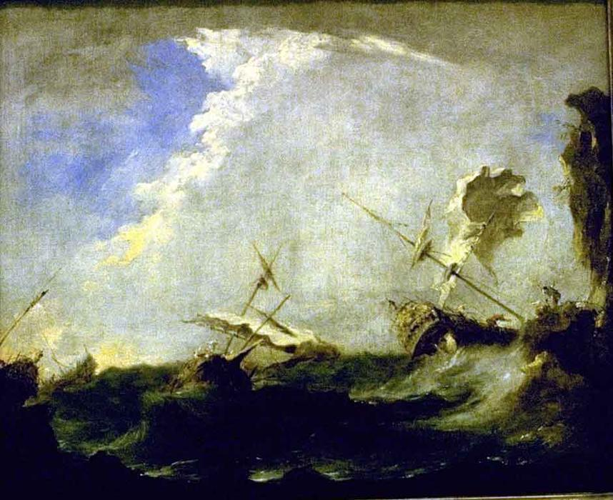 Storm at Sea by Francesco Lazzaro Guardi (1712-1793, Italy) | Painting Copy | WahooArt.com