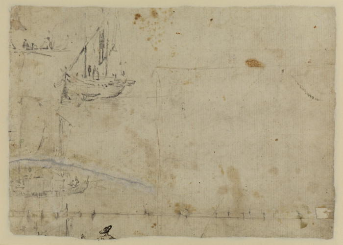 Studies of ships (verso), Drawing by Francesco Lazzaro Guardi (1712-1793, Italy)