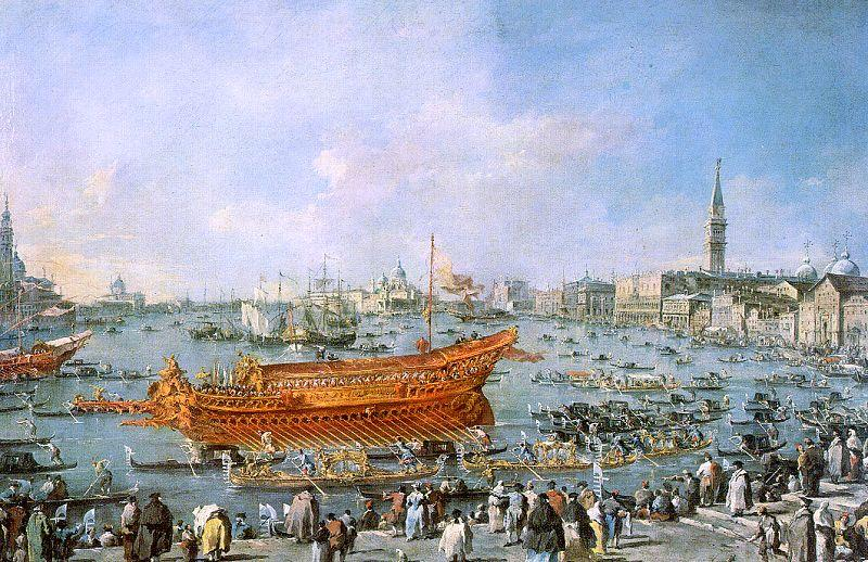 The Bucentaur Departs for the Lido on Ascension Day, Oil by Francesco Lazzaro Guardi (1712-1793, Italy)