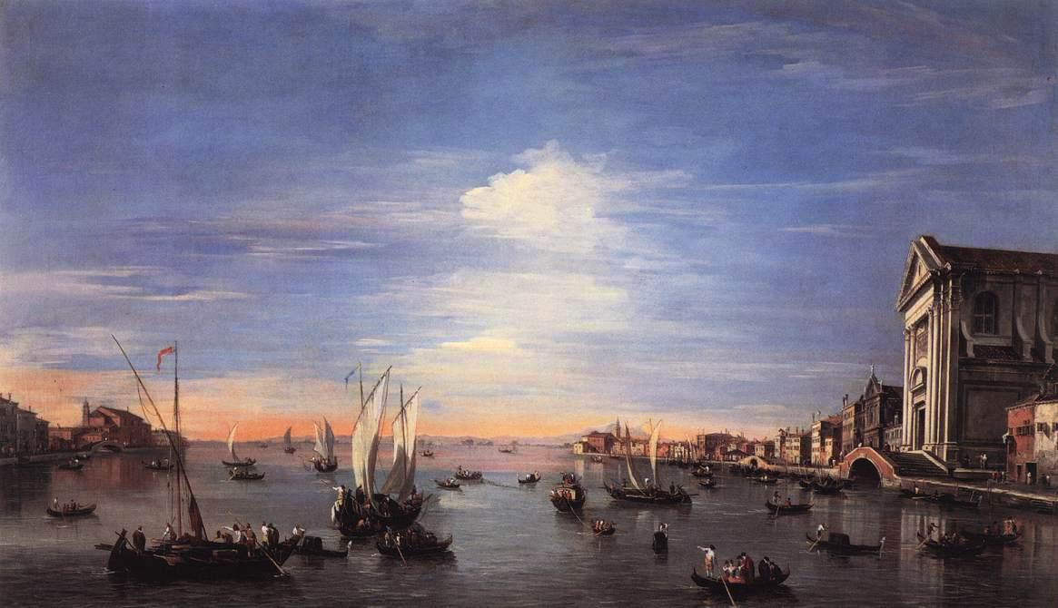 The Giudecca Canal with the Zattere, Oil by Francesco Lazzaro Guardi (1712-1793, Italy)