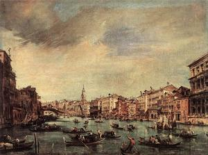 Francesco Lazzaro Guardi - The Grand Canal, Looking toward the Rialto Bridge
