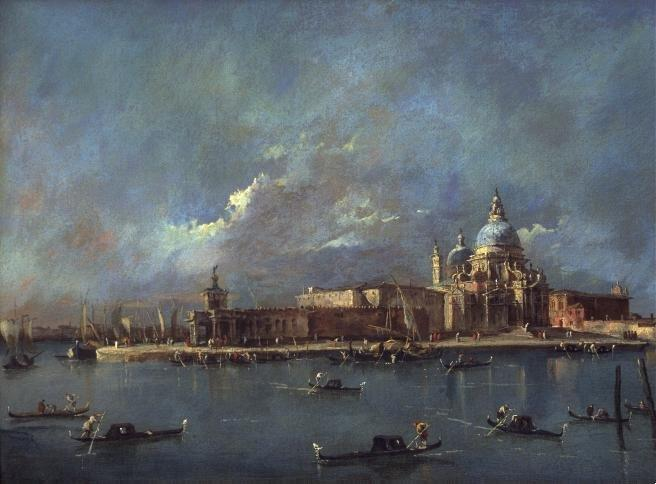 The Old Customs House and the Church of Santa Maria della Salute, Oil by Francesco Lazzaro Guardi (1712-1793, Italy)