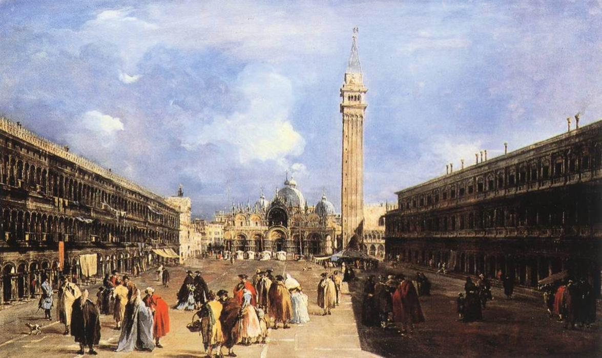The Piazza San Marco towards the Basilica, Oil by Francesco Lazzaro Guardi (1712-1793, Italy)