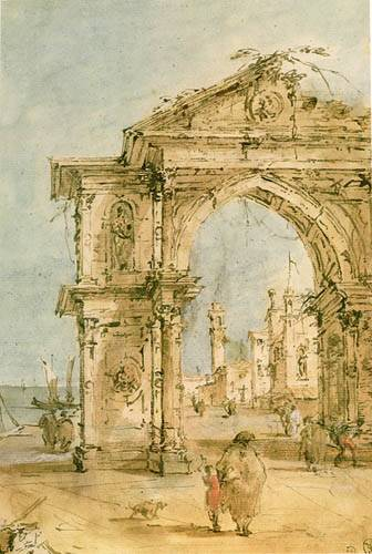 Triumphal Arch on the Embankment, Watercolour by Francesco Lazzaro Guardi (1712-1793, Italy)