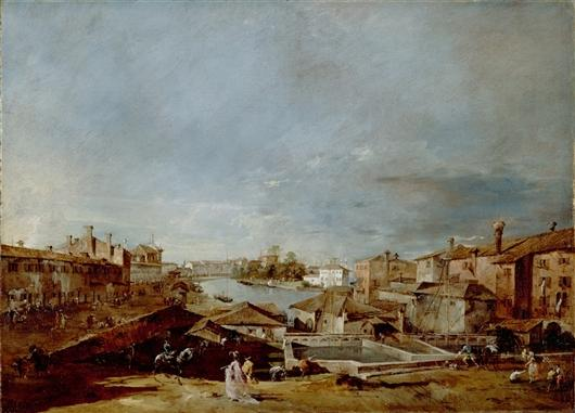 View of Dolo on the Brenta, Oil by Francesco Lazzaro Guardi (1712-1793, Italy)