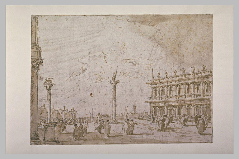 View of the Piazzetta, from the Steps of the San Marco Basilica, Drawing by Francesco Lazzaro Guardi (1712-1793, Italy)