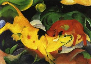 Franz Marc - Cows, Yellow-Red-Green