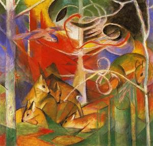 Franz Marc - Deer in the Forest