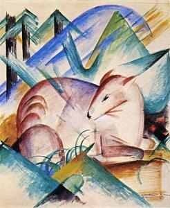 Buy Museum Art Reproductions | Red Deer, 1913 by Franz Marc (1880-1916, Germany) | WahooArt.com