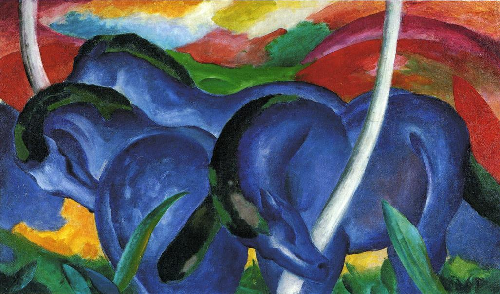 The Large Blue Horses, 1911 by Franz Marc (1880-1916, Germany) | Painting Copy | WahooArt.com