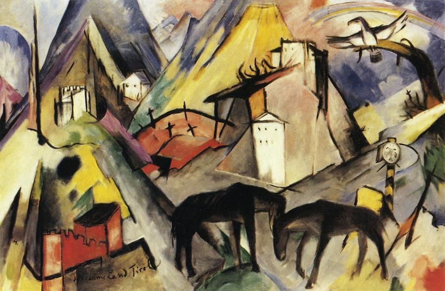 The Unfortunte Land of Tyrol, 1913 by Franz Marc (1880-1916, Germany) | Reproductions Franz Marc | WahooArt.com