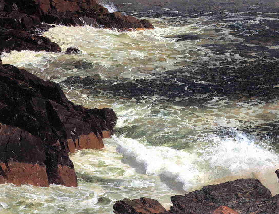 Rough Surf, Mount Desert Island, Oil by Frederic Edwin Church (1826-1900, United States)