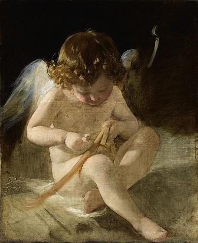 Ludmilla Amerling as Cupid, Oil by Friedrich Ritter Von Amerling (1803-1887)