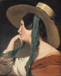 Friedrich Ritter Von Amerling - Maiden with a Straw Hat