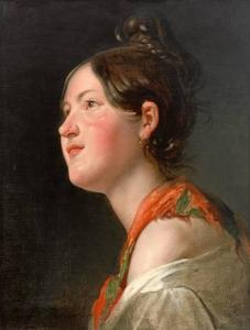 Friedrich Ritter Von Amerling - Portrait of a Girl from Profile