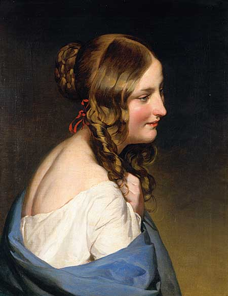 Portrait of a girl, Oil by Friedrich Ritter Von Amerling (1803-1887)