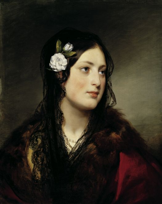 Portrait of Elise Kreuzbereger, Oil by Friedrich Ritter Von Amerling (1803-1887)