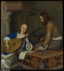 Gerard Ter Borch - A Woman Playing the Theorbo-Lute