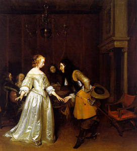 Gerard Ter Borch - An Officer Making his Bow to a Lady