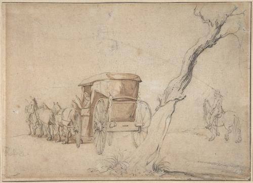 Carriage In A Landscape by Gerard Ter Borch (1617-1681, Netherlands) | Museum Quality Reproductions | WahooArt.com