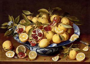 Gerard Van Honthorst (Gerrit Van Honthorst) - A Still Life Of A Wanli Kraak Porcelain Bowl Of Citrus Fruit And Pomegranates On A Wooden Table