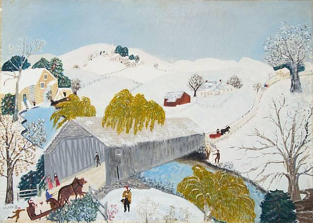 The old bridge in the valley&;, oil by grandma moses (anna robertson