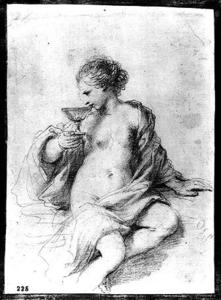 Guercino (Barbieri, Giovanni Francesco) - A Woman Drinking from a Cup