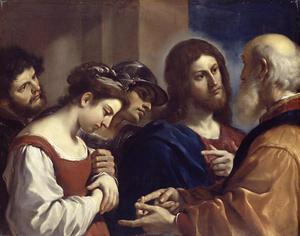 Guercino (Barbieri, Giovanni Francesco) - Christ and the Woman taken in adultery