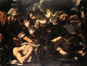 Guercino (Barbieri, Giovanni Francesco) - Ermina Finds the Wounded Tancred
