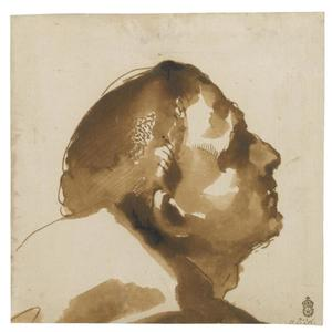 Guercino (Barbieri, Giovanni Francesco) - Head of a man in profile, looking up