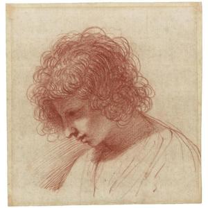 Guercino (Barbieri, Giovanni Francesco) - Head of a young man in profile, looking down to the left