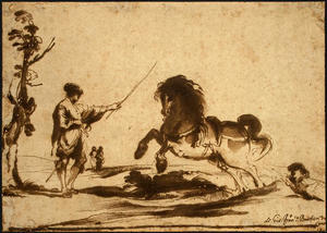 Guercino (Barbieri, Giovanni Francesco) - Landscape with the Taming of a Horse