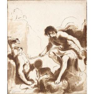 Guercino (Barbieri, Giovanni Francesco) - PROMETHEUS ANIMATING WITH FIRE THE CLAY FIGURE OF A RECUMBENT MAN